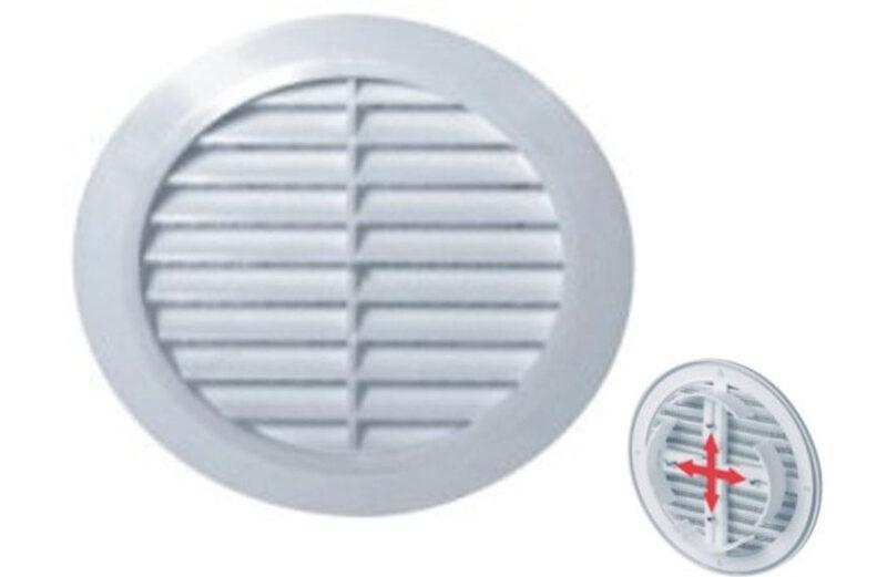 Ventilaciona žaluzina protivkišna OKRUGLA fi100-fi150 BELA (T36)